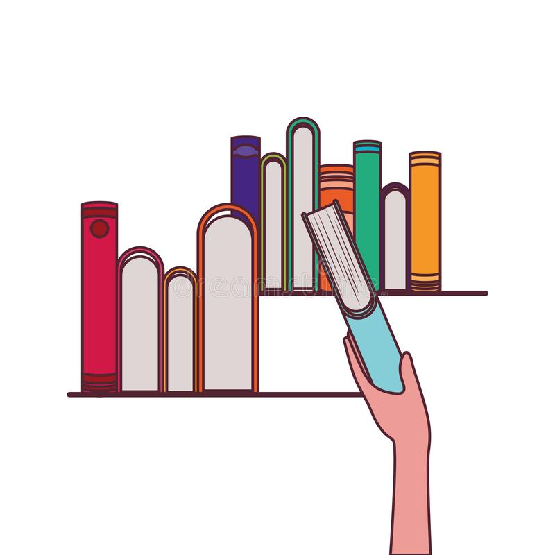 Группа в составе книги и дизайн руки иллюстрация вектора