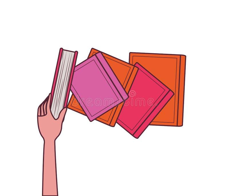 Группа в составе книги и дизайн руки бесплатная иллюстрация