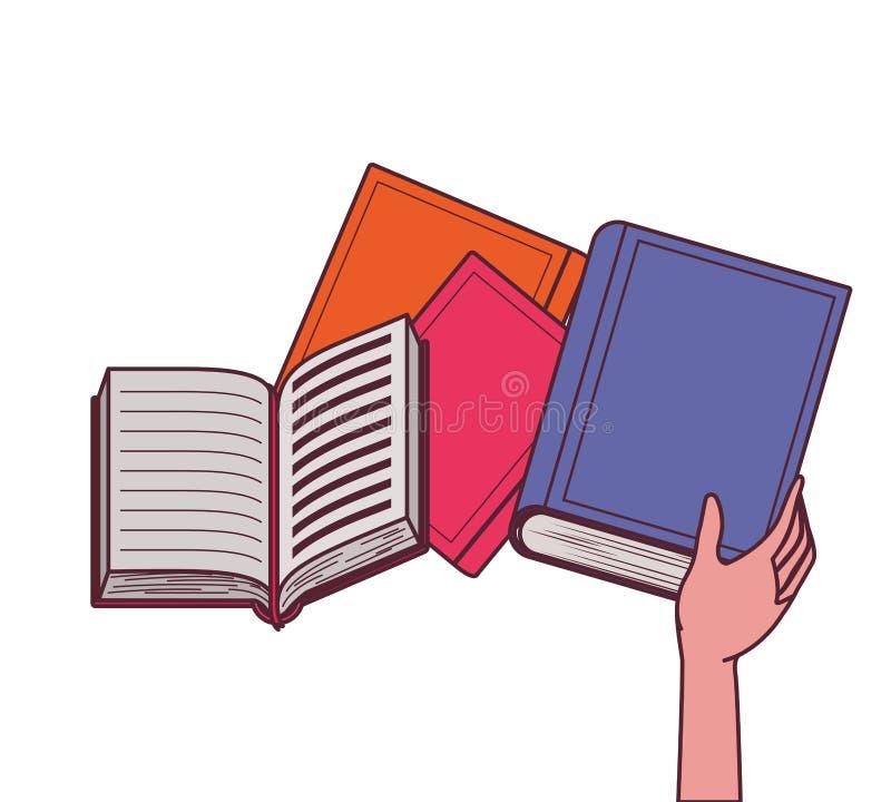 Группа в составе книги и дизайн руки иллюстрация штока