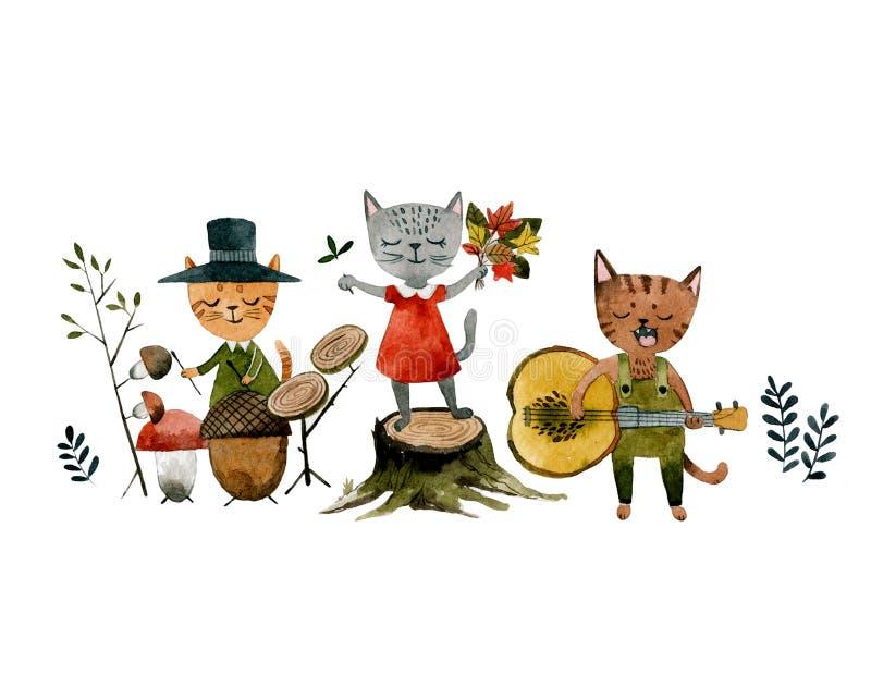 Группа в составе коты поя песню и играя осень музыкальных инструментов иллюстрация вектора