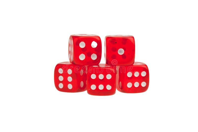 Группа в составе красный цвет dices стоковое изображение rf