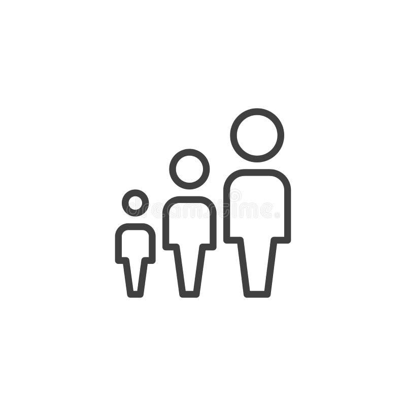 Группа в составе линия значок 3 людей бесплатная иллюстрация