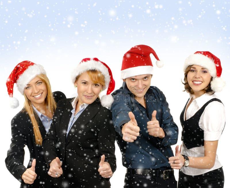Группа в составе люди дела в шлемах рождества стоковые фотографии rf