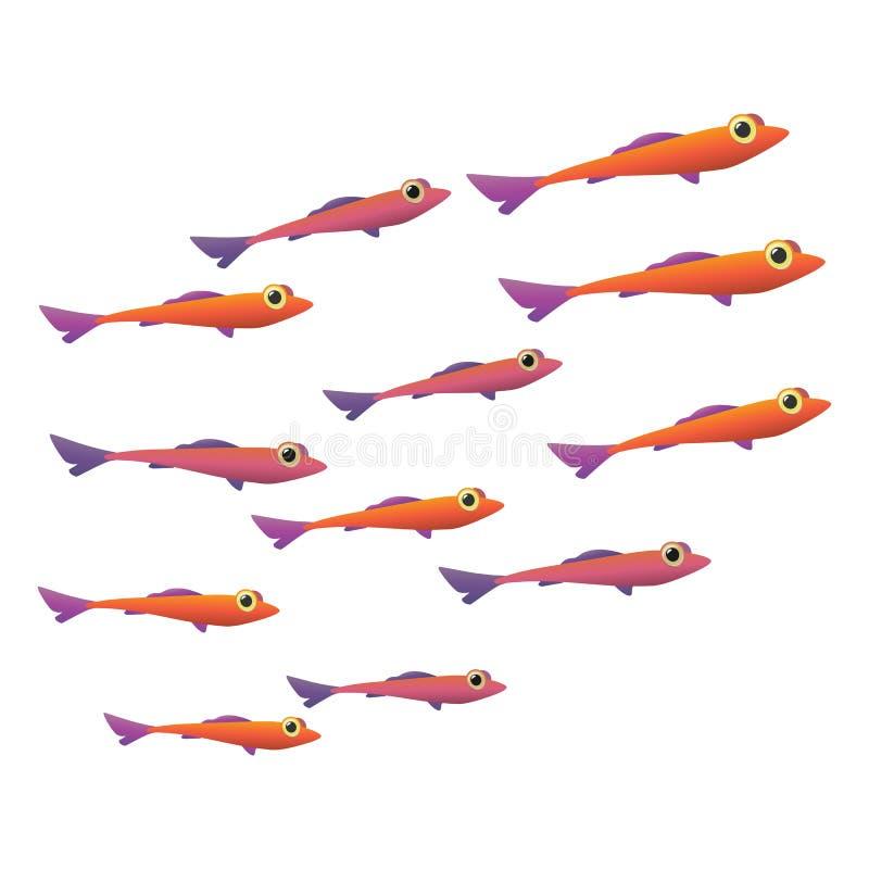 Группа в составе малый значок рыб иллюстрация вектора