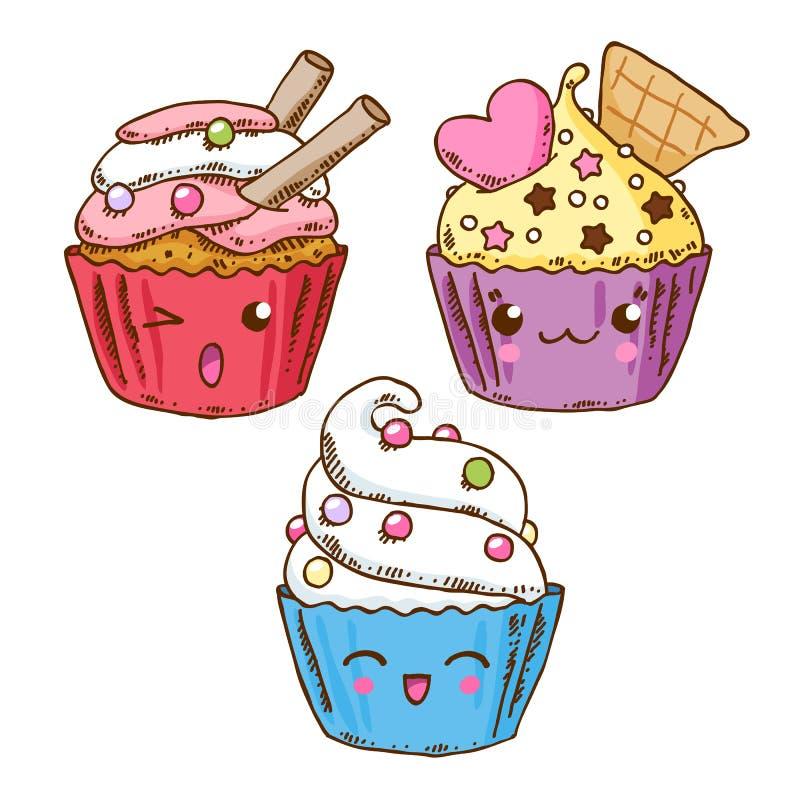 Группа в составе 3 милых donuts kawaii бесплатная иллюстрация