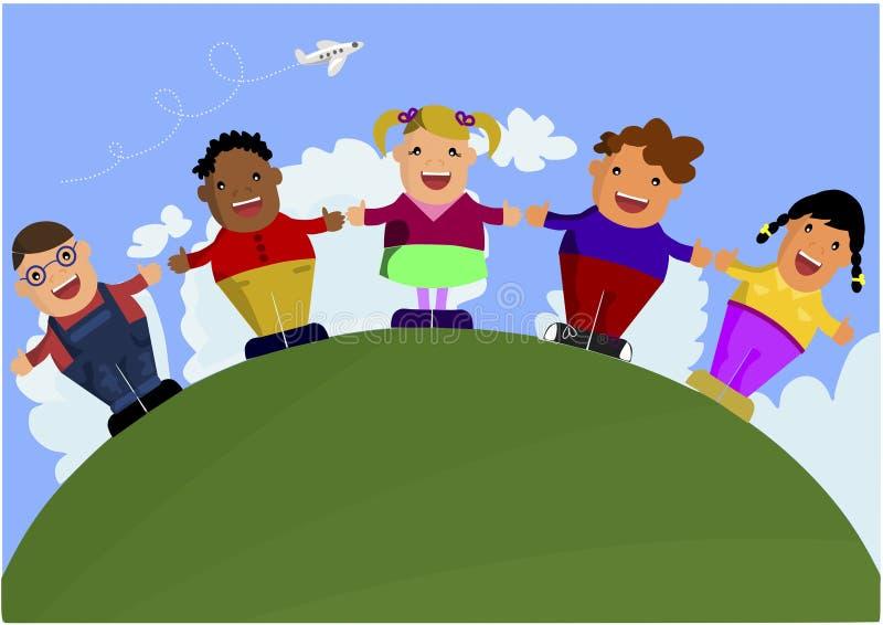 Группа в составе многокультурные дети бесплатная иллюстрация