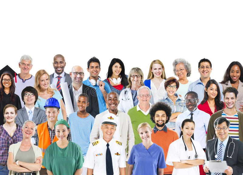 Группа в составе многонациональные смешанные люди занятий стоковые изображения rf