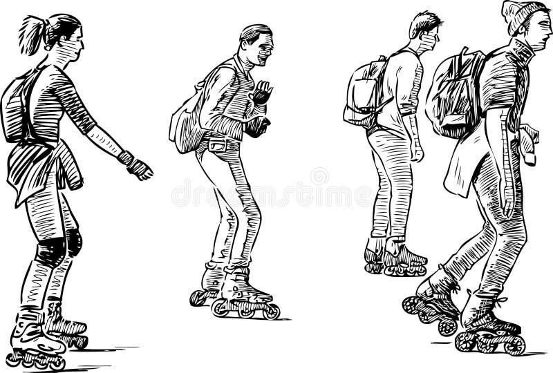 Группа в составе молодой гражданин катаясь на коньках на роликах иллюстрация штока
