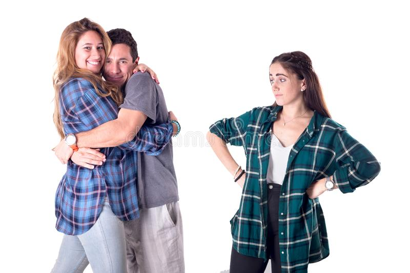 Группа в составе молодой представлять друзей стоковые фото