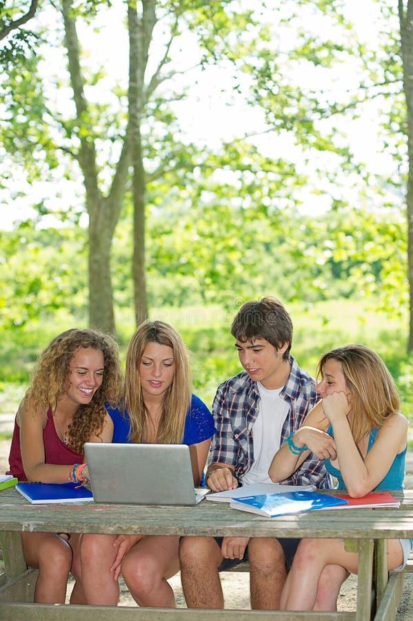 Группа в составе молодой студент используя компьтер-книжку напольную стоковые фотографии rf