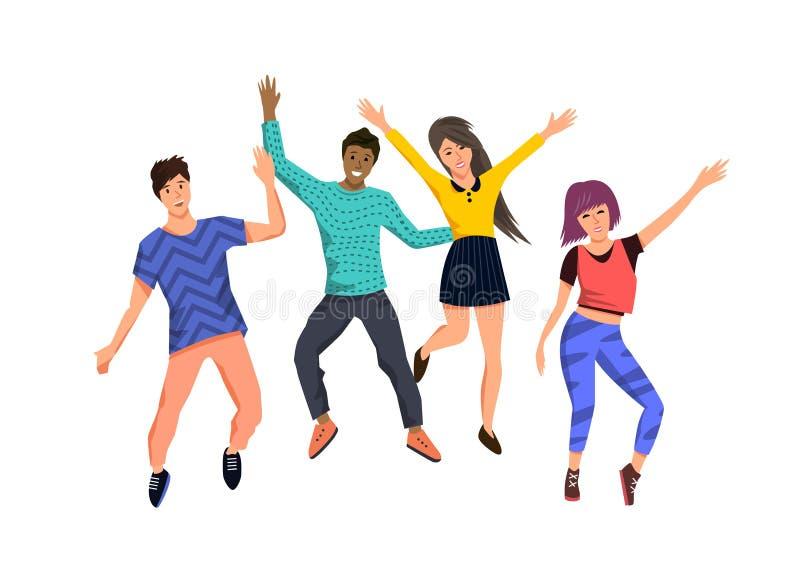 Группа в составе молодой счастливый скакать людей бесплатная иллюстрация