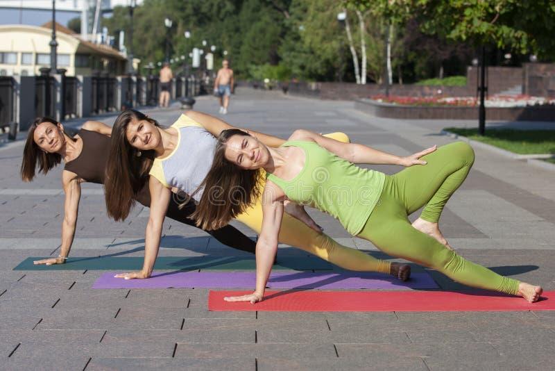 Группа в составе молодые женщины делая йогу в парке стоковые фотографии rf