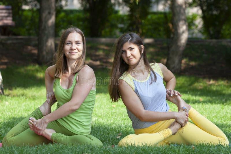 Группа в составе молодые женщины делая йогу в парке стоковое изображение