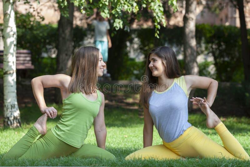 Группа в составе молодые женщины делая йогу в парке стоковые изображения