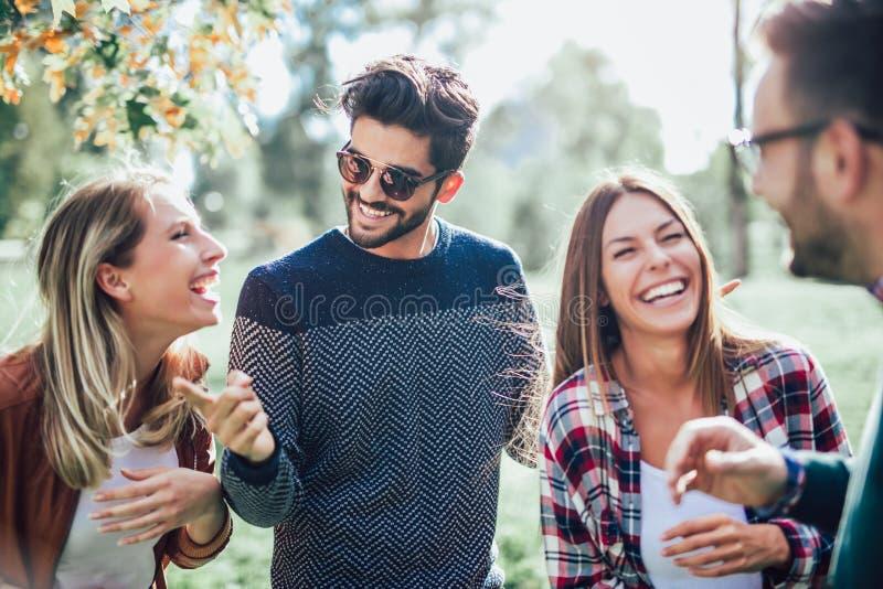 Группа в составе молодые люди идя через парк стоковое фото