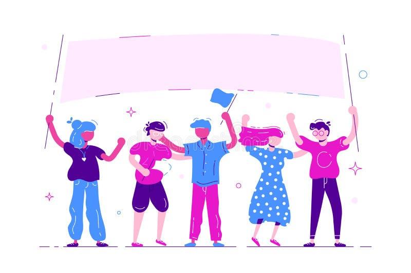 Группа в составе молодые люди и женщины стоя совместно и держа пустое знамя иллюстрация вектора