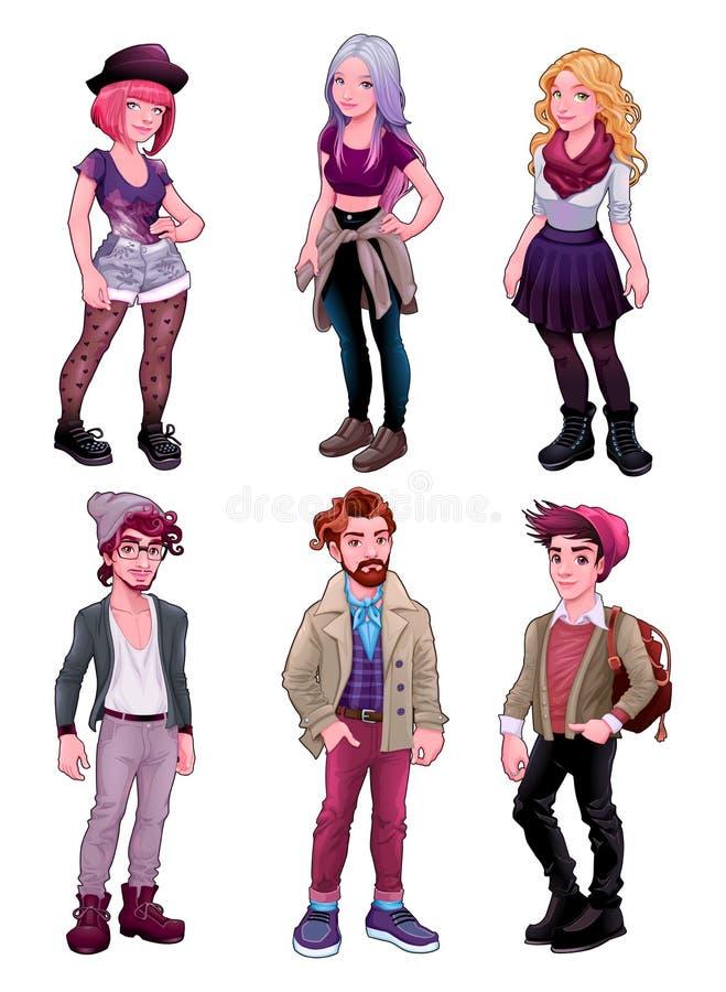 Группа в составе молодые люди, и мужчины и женщины иллюстрация штока