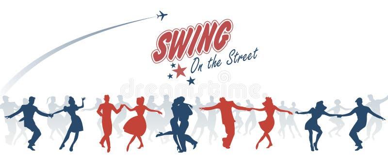 Группа в составе молодые люди танцуя крен качания, lindy или утеса ` n бесплатная иллюстрация