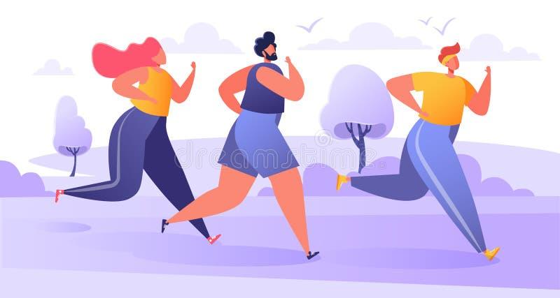 Группа в составе мультфильм, расстояние марафона плоских характеров идущее Здоровая концепция образа жизни, лето на открытом возд иллюстрация вектора
