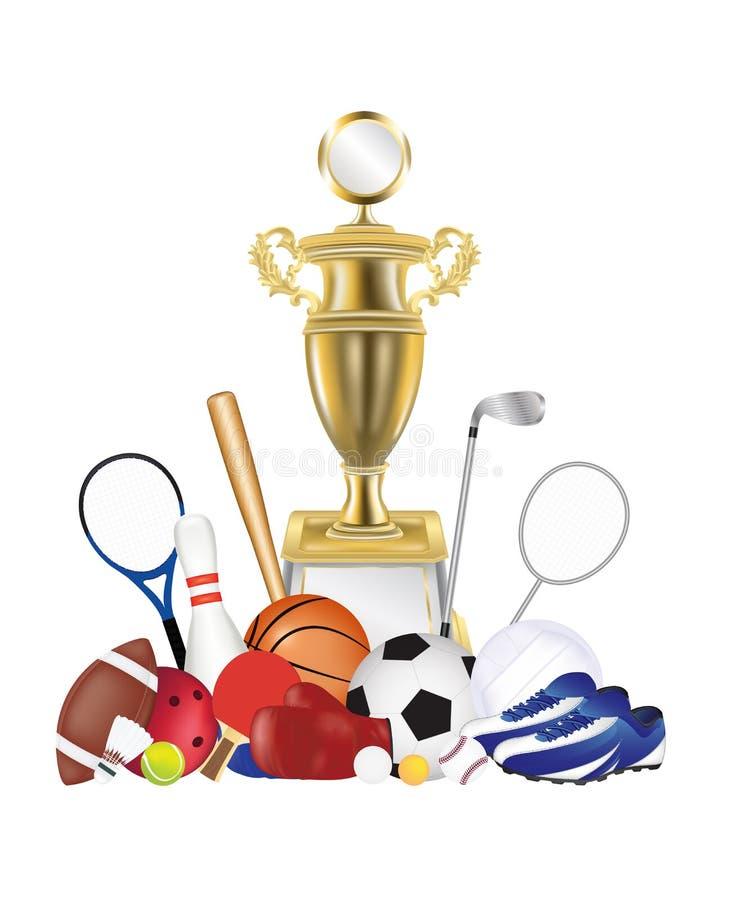 Группа в составе оборудование спорта и трофей золота бесплатная иллюстрация