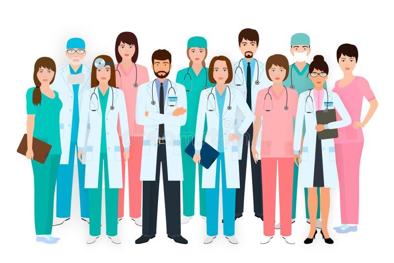 Группа в составе доктора и медсестры стоя совместно в различных представлениях Медицинские люди Персонал больницы иллюстрация вектора