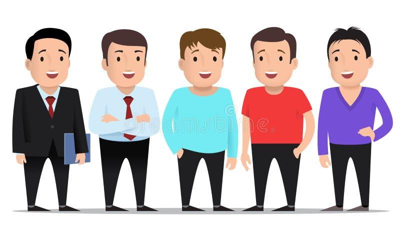 Группа в составе парни в различных одеждах бесплатная иллюстрация