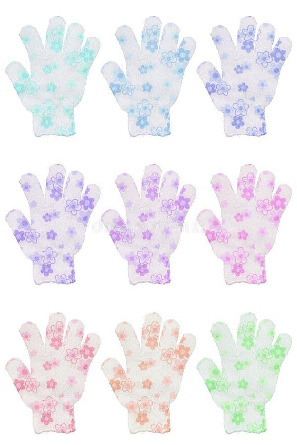Группа в составе 9 перчаток губки ванны руки с различными цветами цветет стоковое изображение