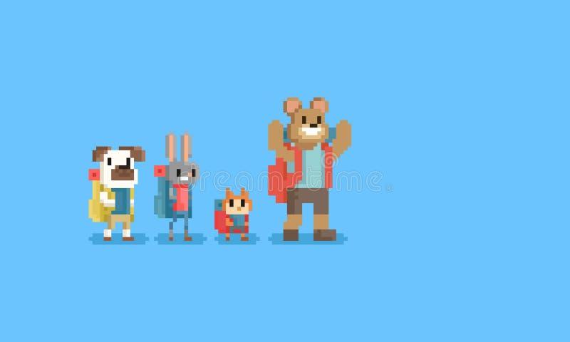 Группа в составе пиксела туристский животный характер 8bit бесплатная иллюстрация