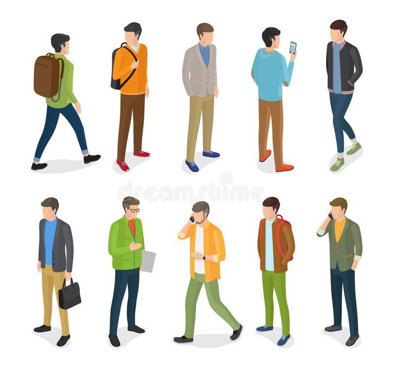 Группа в составе подростковые парни одетые в различных одеждах иллюстрация штока
