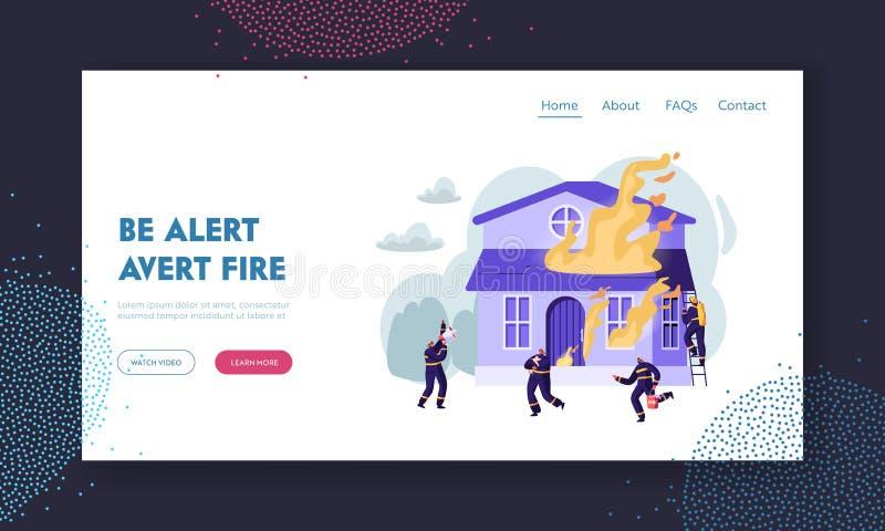 Группа в составе пожарные воюя с пламенем на горя доме Команда туша большой огонь, плача к мегафону, носит собаку сбережений воды иллюстрация штока