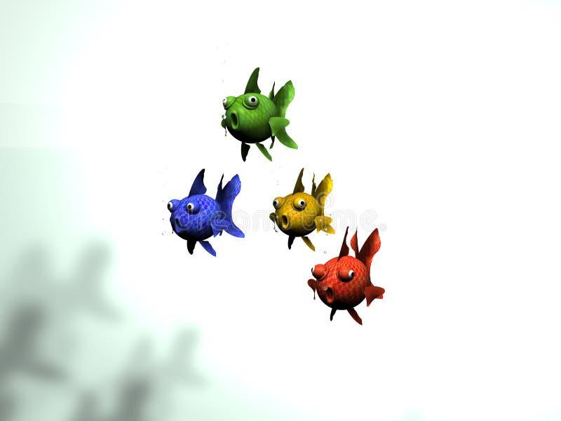 Группа в составе покрашенные рыбы иллюстрация штока