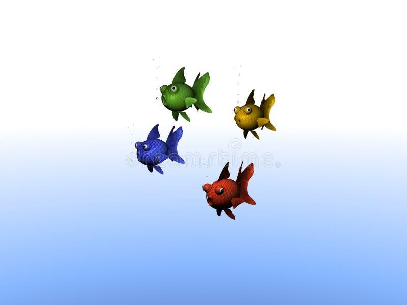 Группа в составе покрашенные рыбы иллюстрация вектора