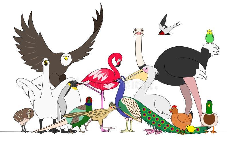 группа в составе птицы иллюстрация вектора