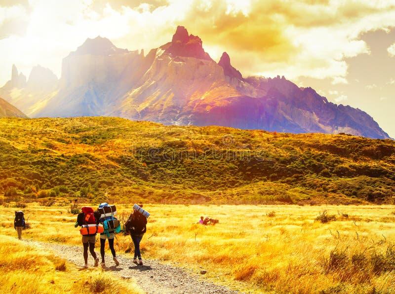 Группа в составе путешественники с рюкзаками идет к гребню горы стоковое фото rf