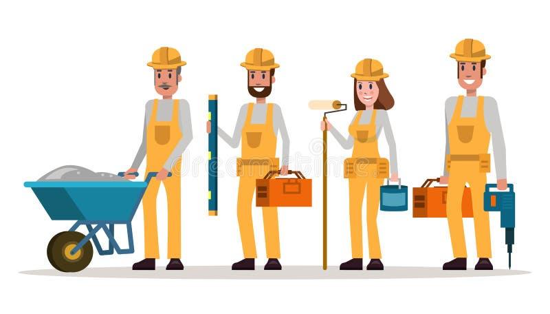 Группа в составе рабочий-строители в защитных шлемах бесплатная иллюстрация