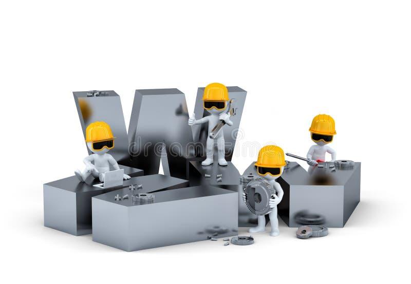 Группа в составе рабочий-строители/построители с знаком WWW. Здание вебсайта или принципиальная схема ремонта.  на белой предпосыл бесплатная иллюстрация