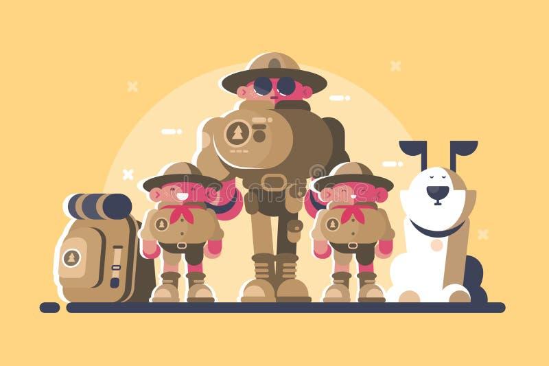 Группа в составе разведчики с рюкзаком бесплатная иллюстрация