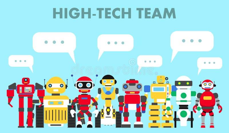 Группа в составе различные абстрактные роботы стоя совместно и пузырь речи на голубой предпосылке в плоском стиле Высокотехнологи иллюстрация штока