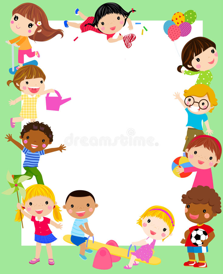 Группа в составе рамка детей иллюстрация вектора