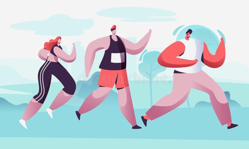 Группа в составе расстояние мужчины и марафона женских характеров идущее в сырцовом Конкуренция спорта Jogging Спортсмены спринте иллюстрация штока