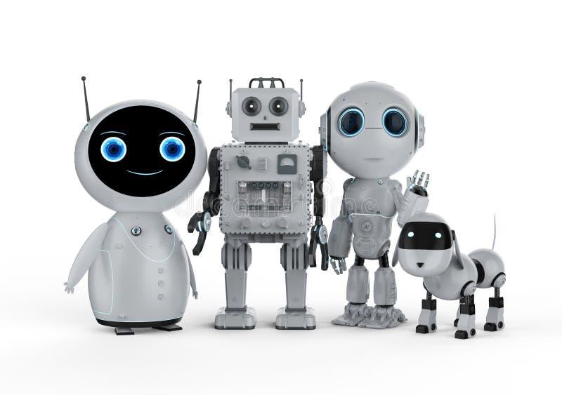 Группа в составе роботы иллюстрация штока