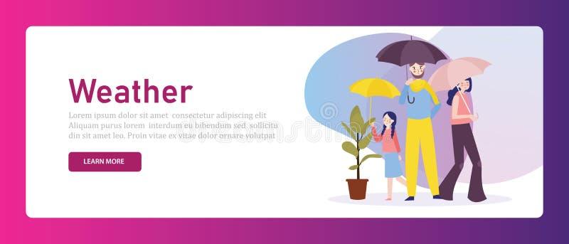 Группа в составе родитель зонтика удерживания семьи защитить их детей от сезона погоды Иллюстрация знамени сети иллюстрация вектора