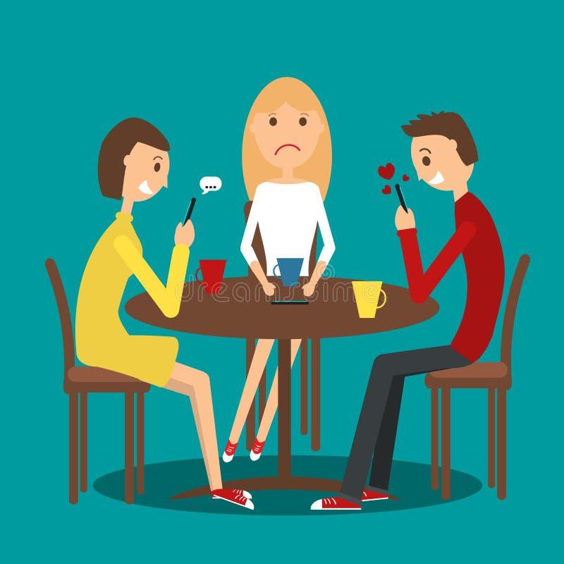 Группа в составе друзья в кафе иллюстрация штока