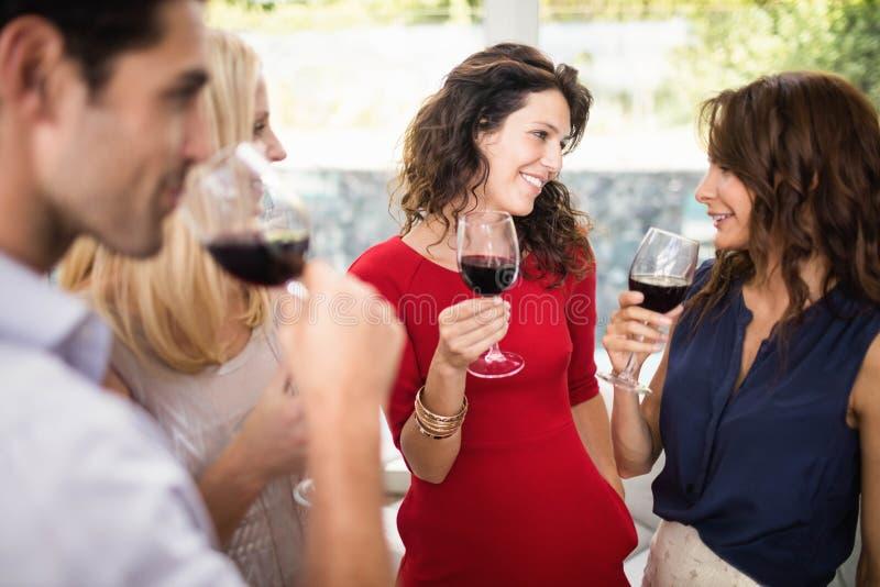 Группа в составе друзья имея вино стоковые изображения rf