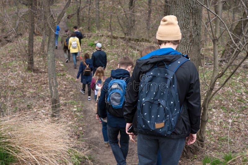 Группа в составе друзья идя с лесом рюкзаков весной от задней части Backpackers в древесинах Приключение, перемещение стоковые изображения rf