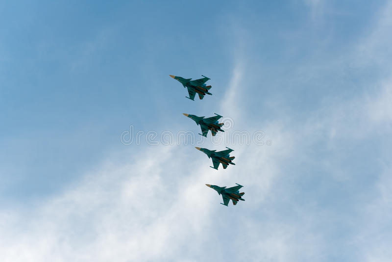 Группа в составе самолеты Sukhoi стоковое изображение