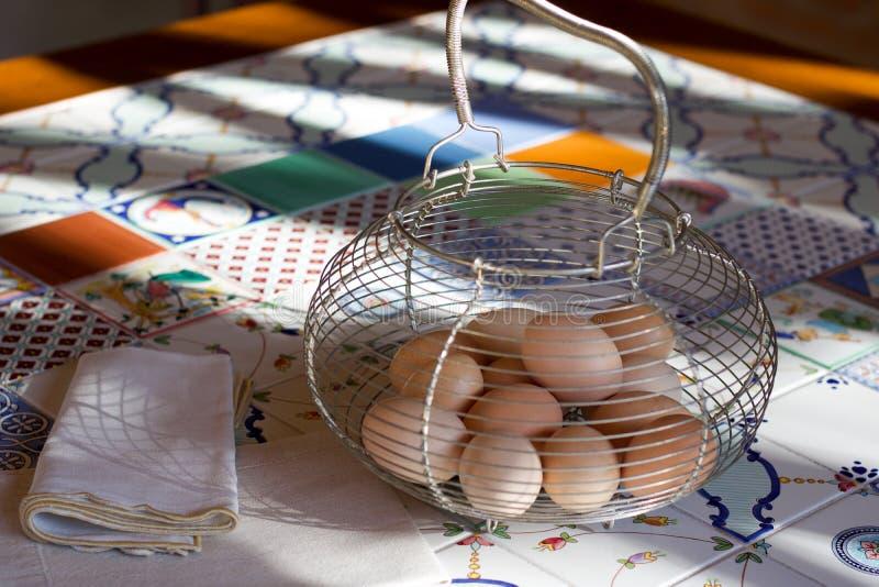 Группа в составе свежие яйца цыпленка в металлическом контейнере стоковая фотография rf