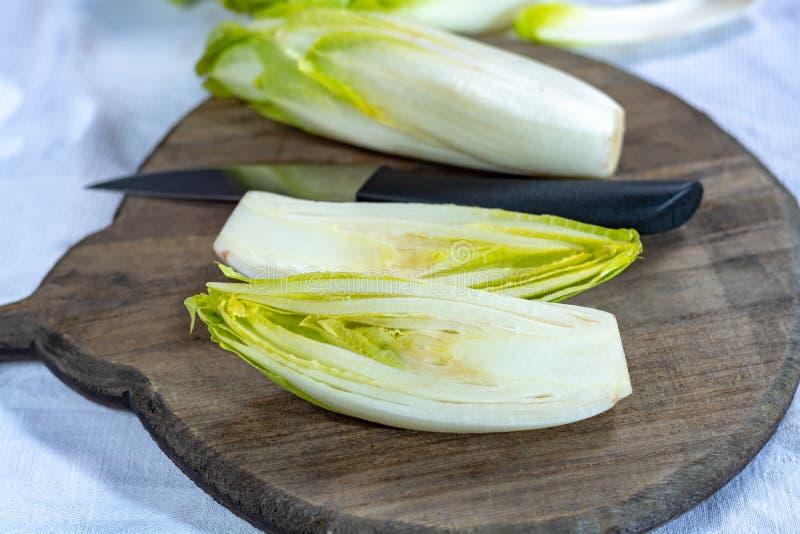 Группа в составе свежий сырцовый зеленый бельгийский эндивий или hicory овощи, также известная как salade witlof стоковые фото