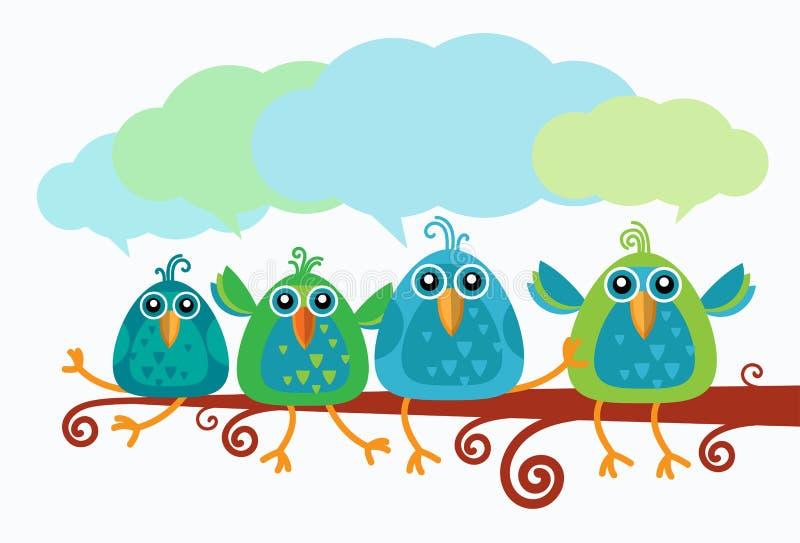 Группа в составе связь болтовни птиц сидя на ветви бесплатная иллюстрация