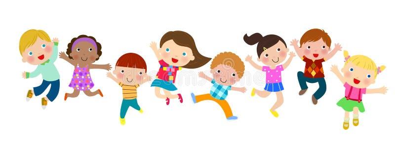 Группа в составе скача дети иллюстрация штока